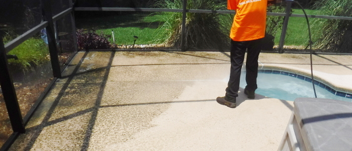 cleaning pool deck