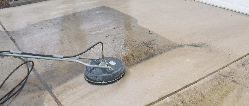 pressure washing driveway close up