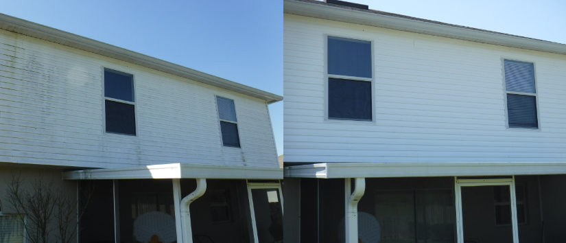 before and after vinyl siding cleaning