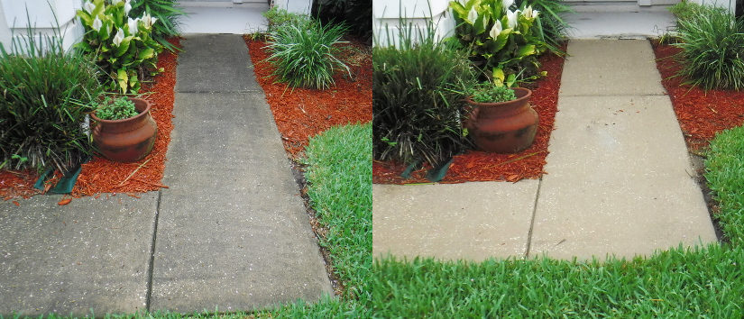 before and after pressure washing